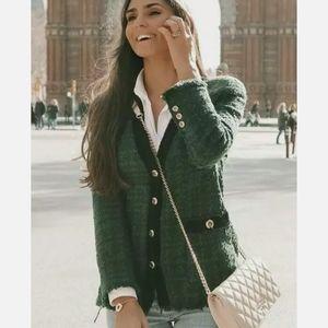 Zara Military Tweed Bouncel Blazer Jacket Green